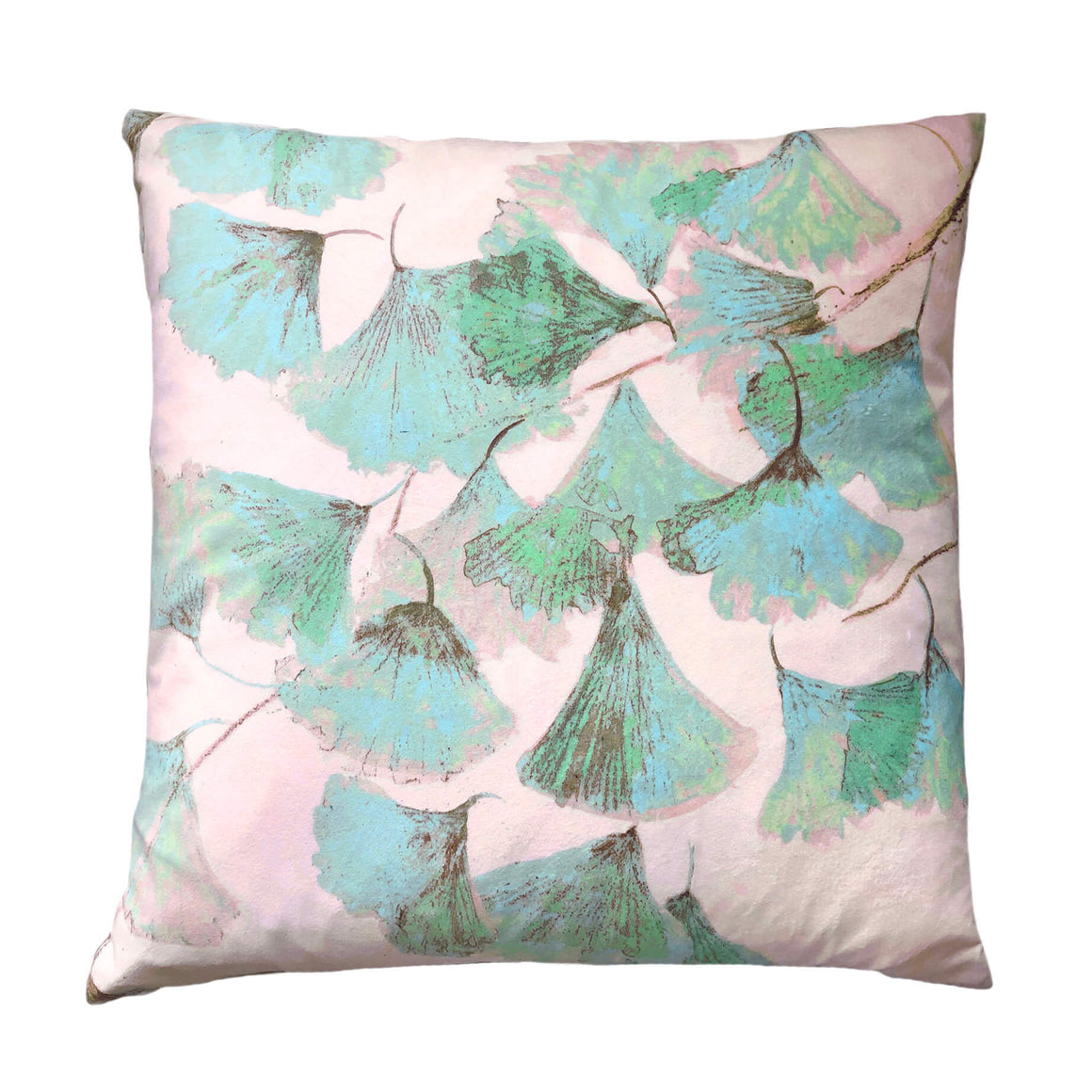 Green and pink velvet cushion - Ginkgo in Jade - by Anna Jacobs