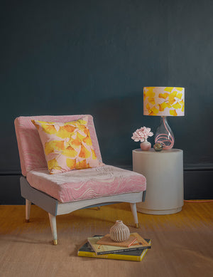 Yellow velvet cushion and glass lamp with Rose flex - Ginkgo in Sunshine - by Anna Jacobs - in a living room lifestyle setting