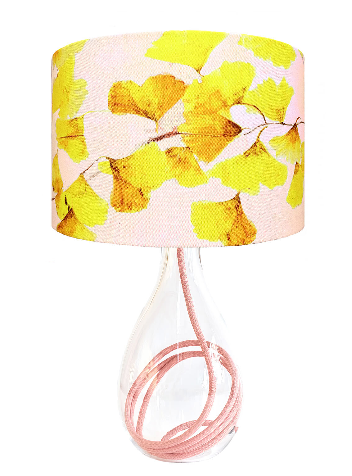 Ginkgo in Sunshine yellow glass lamp with Rose flex, designed by Anna Jacobs