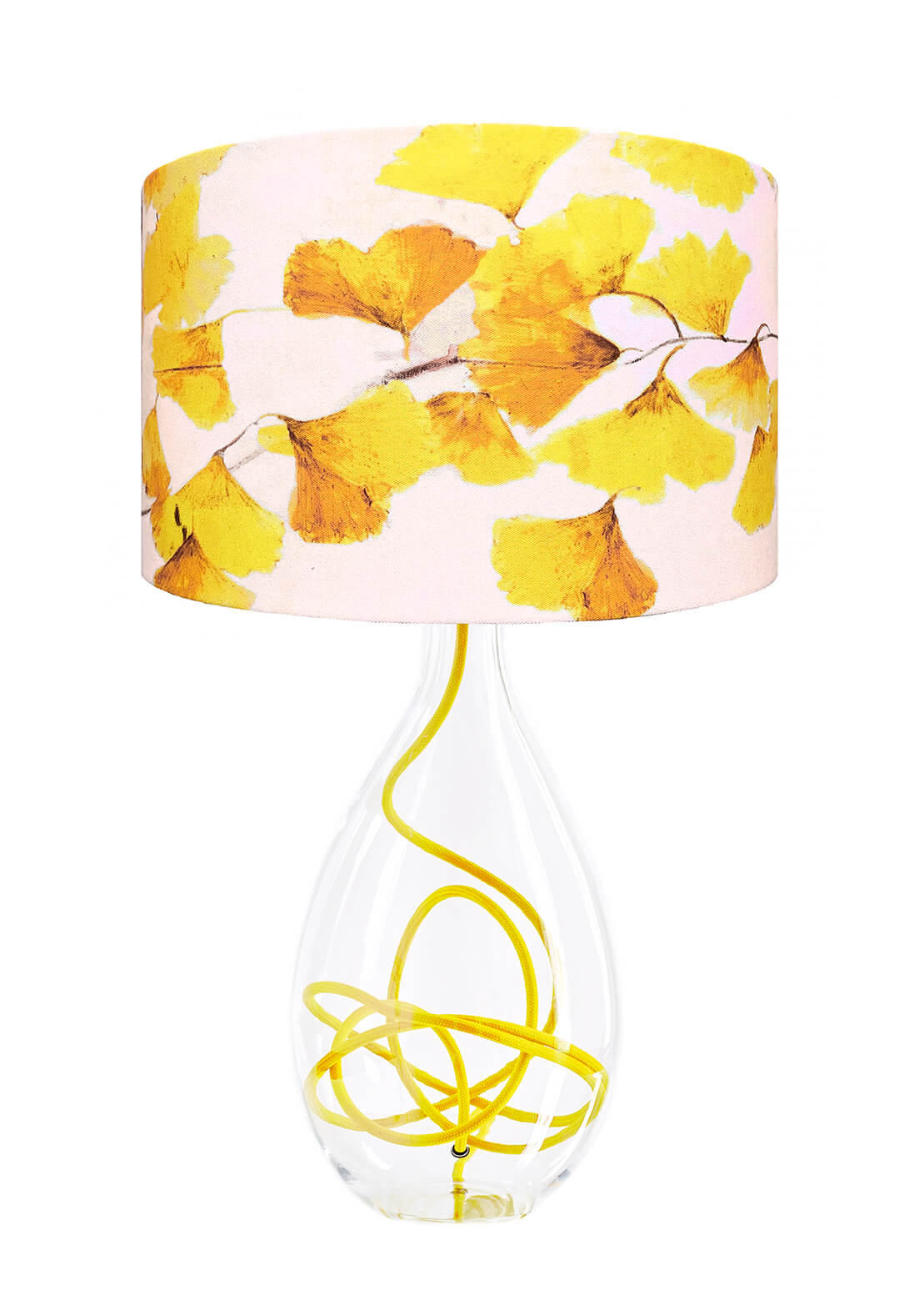 Ginkgo in Sunshine yellow glass lamp with yellow flex, designed by Anna Jacobs