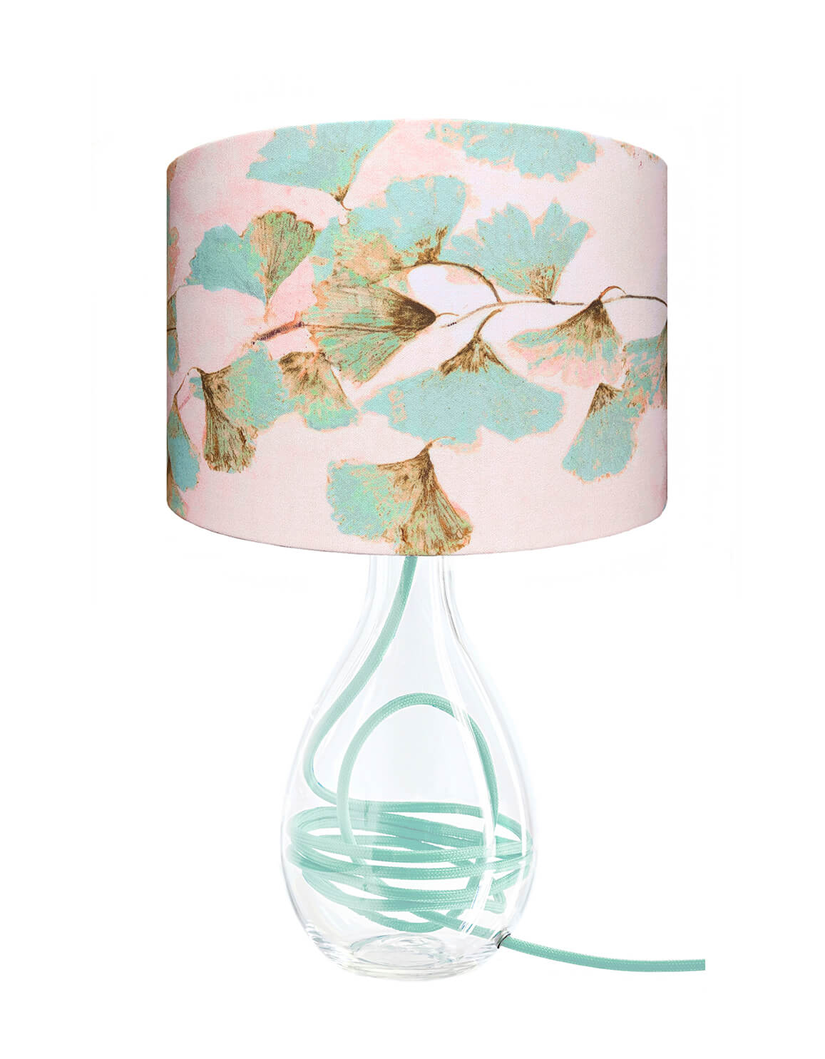 Ginkgo in Jade glass lamp on gold flex, designed by Anna Jacobs