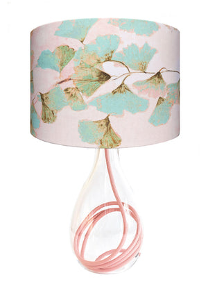 Ginkgo in Jade glass lamp on Rose flex, designed by Anna Jacobs