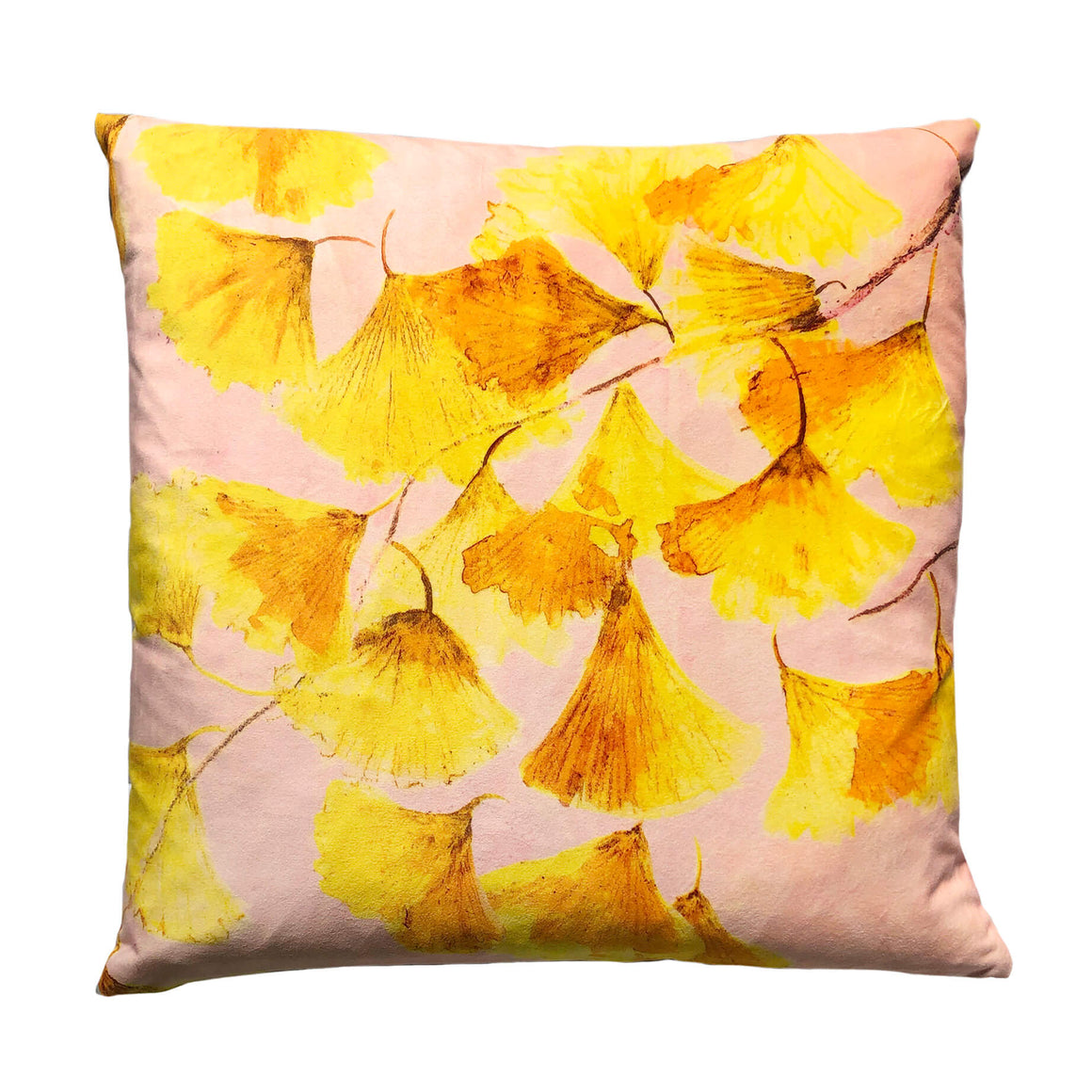 Yellow velvet cushion - Ginkgo in Sunshine - by Anna Jacobs