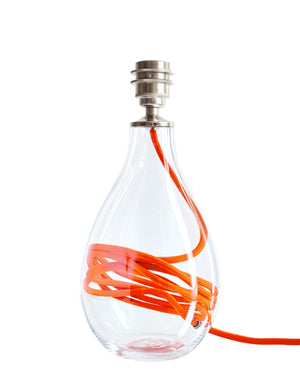 Glass lamp base with clementine orange flex, designed by Anna Jacobs - small size
