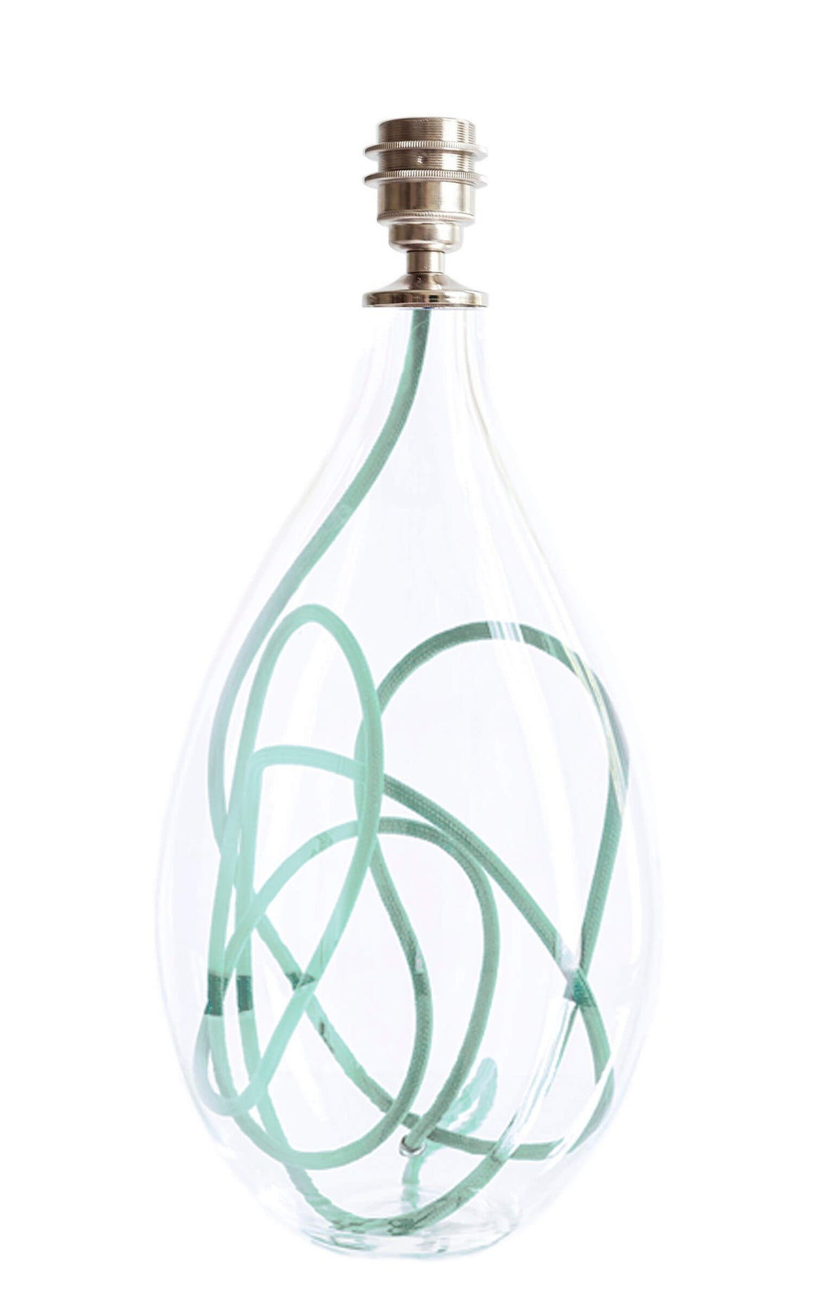 Glass lamp base with jade flex, designed by Anna Jacobs