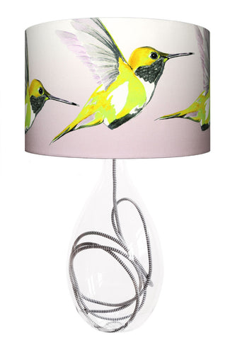 Lemon Hummer large lamp with grey zig zag flex, handmade in Britain