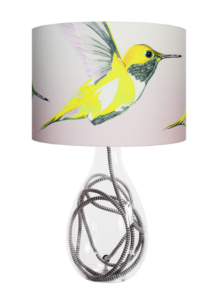 Lemon Hummer medium lamp with grey zig zag flex, handmade in Britain
