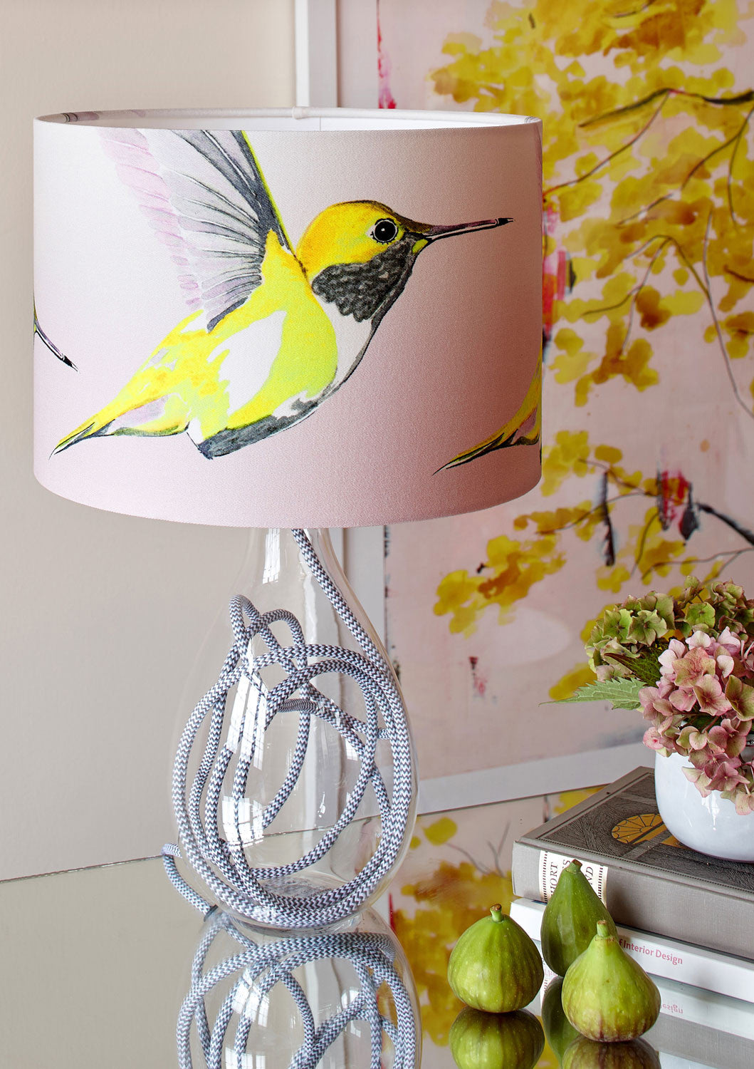Lemon Hummer medium lamp with grey zig zag flex set with green figs and Chinese Tree in Blush large print