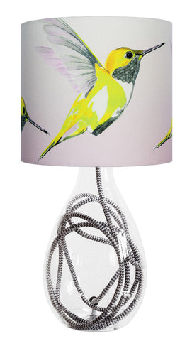 Lemon Hummer small lamp with grey zig zag flex, handmade in Britain