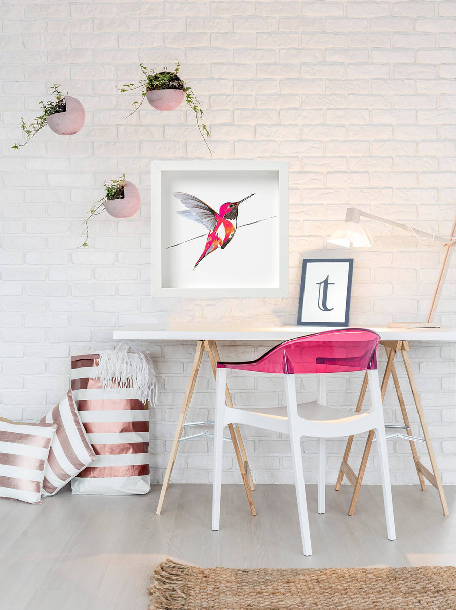 Hummingbird in bright pink print by Anna Jacobs