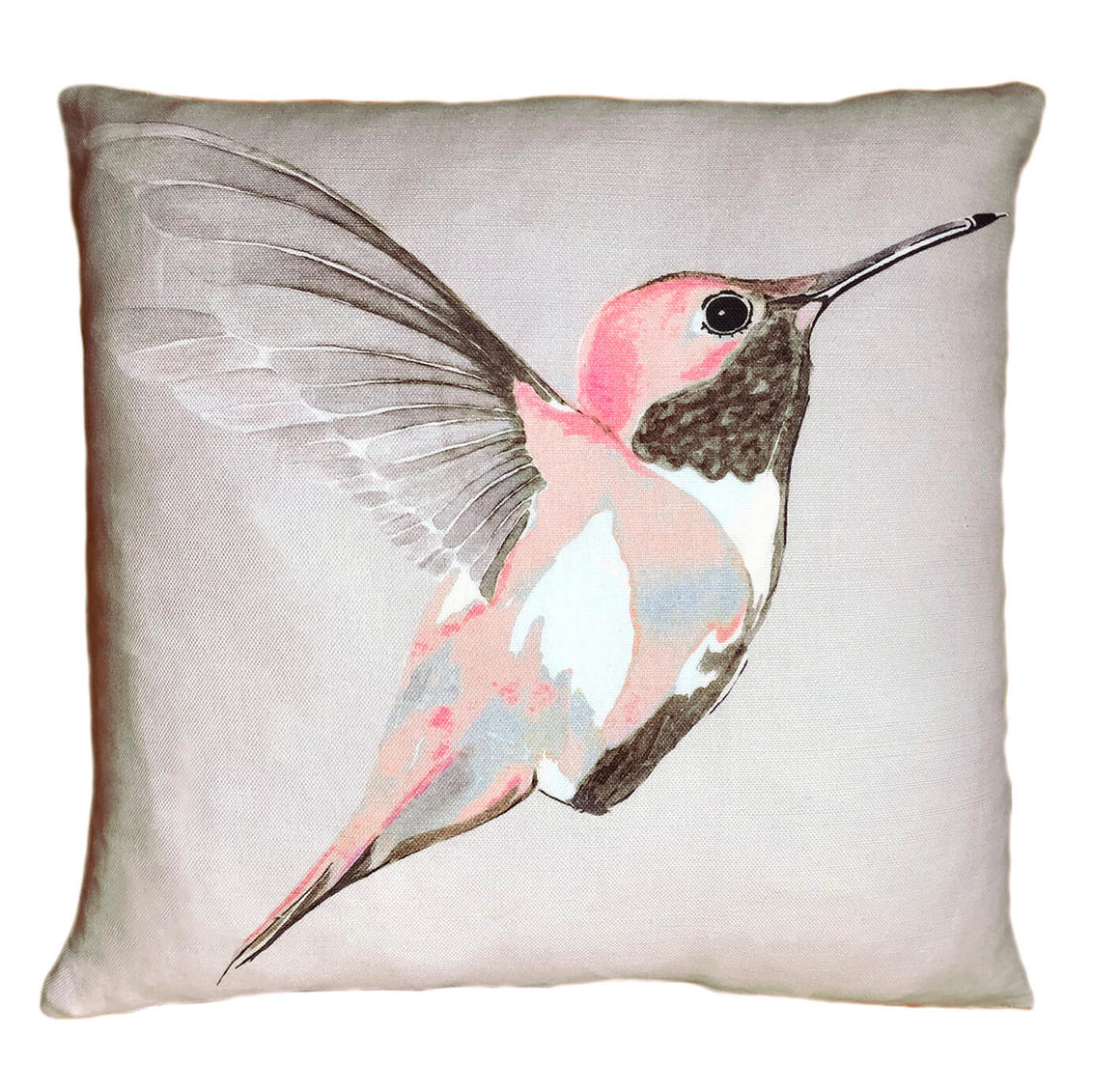Rose Hummer on Grey<br />linen cushion