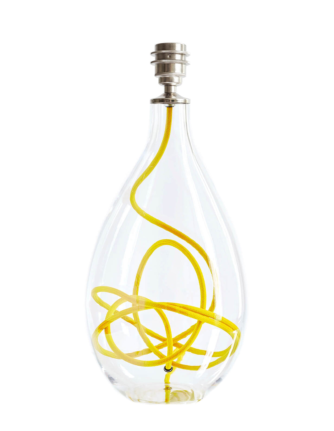 Glass lamp base with yellow flex, designed by Anna Jacobs