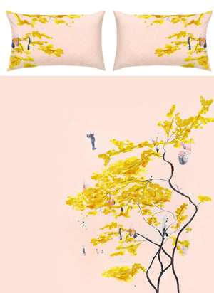 Anna Jacobs Chinese Tree bed linen flat image to show whole pattern