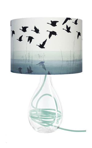 Welsh Reflection glass lamp with Jade flex, designed by Anna Jacobs