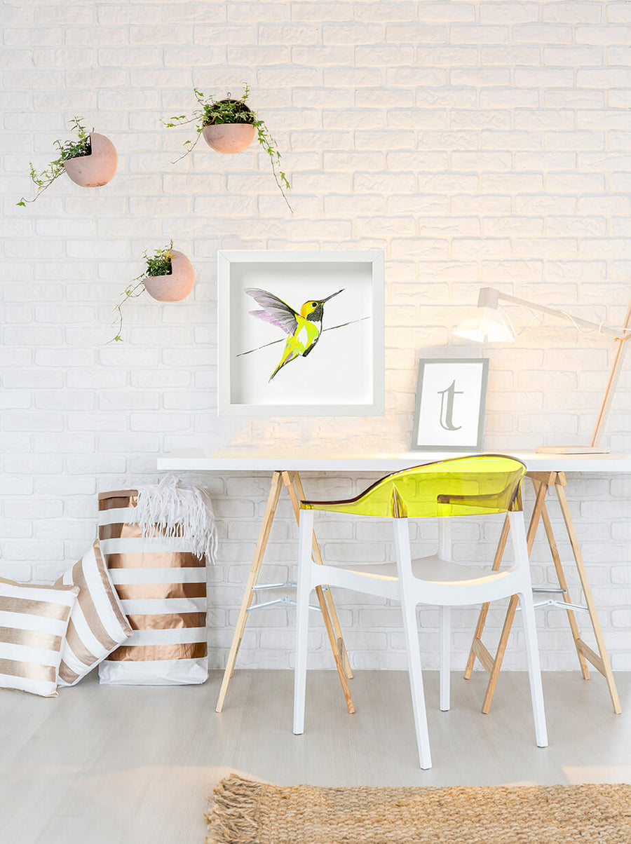 Yellow Hummingbird print by Anna Jacobs, as seen in Coronation Street