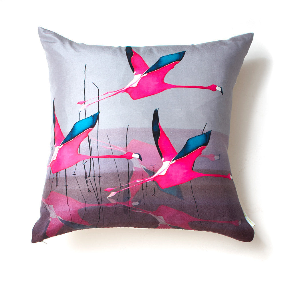 Breaking Dawn flamingo<br />square silk cushion