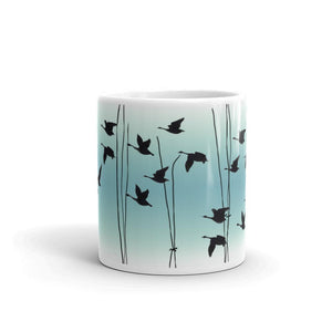 Flying Geese mug in Jade, by Anna Jacobs - front
