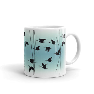 Flying Geese mug in Jade, by Anna Jacobs - handle on right