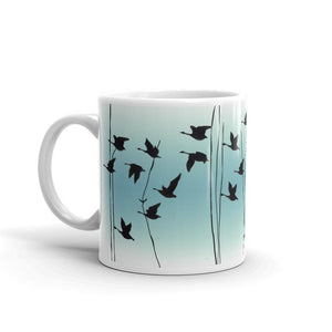 Flying Geese mug in Jade, by Anna Jacobs - handle on left