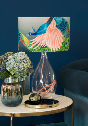 Peacock lamp on Rose base by Anna Jacobs - Flying Peacock lamp lifestyle image