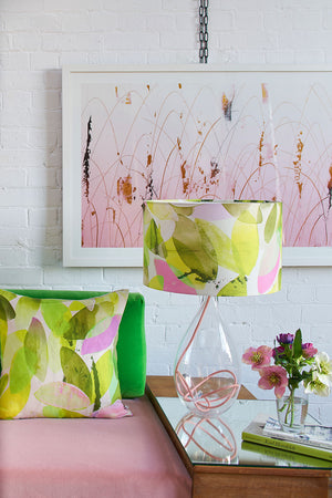 Falling Leaves in Spring large lamp on Rose and cushion by Anna Jacobs