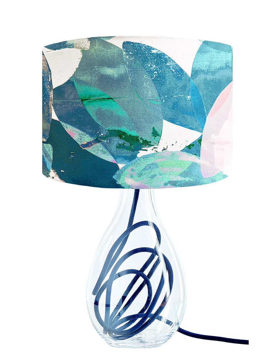 Falling Leaves in Winter medium lamp on Powder Blue flex by Anna Jacobs