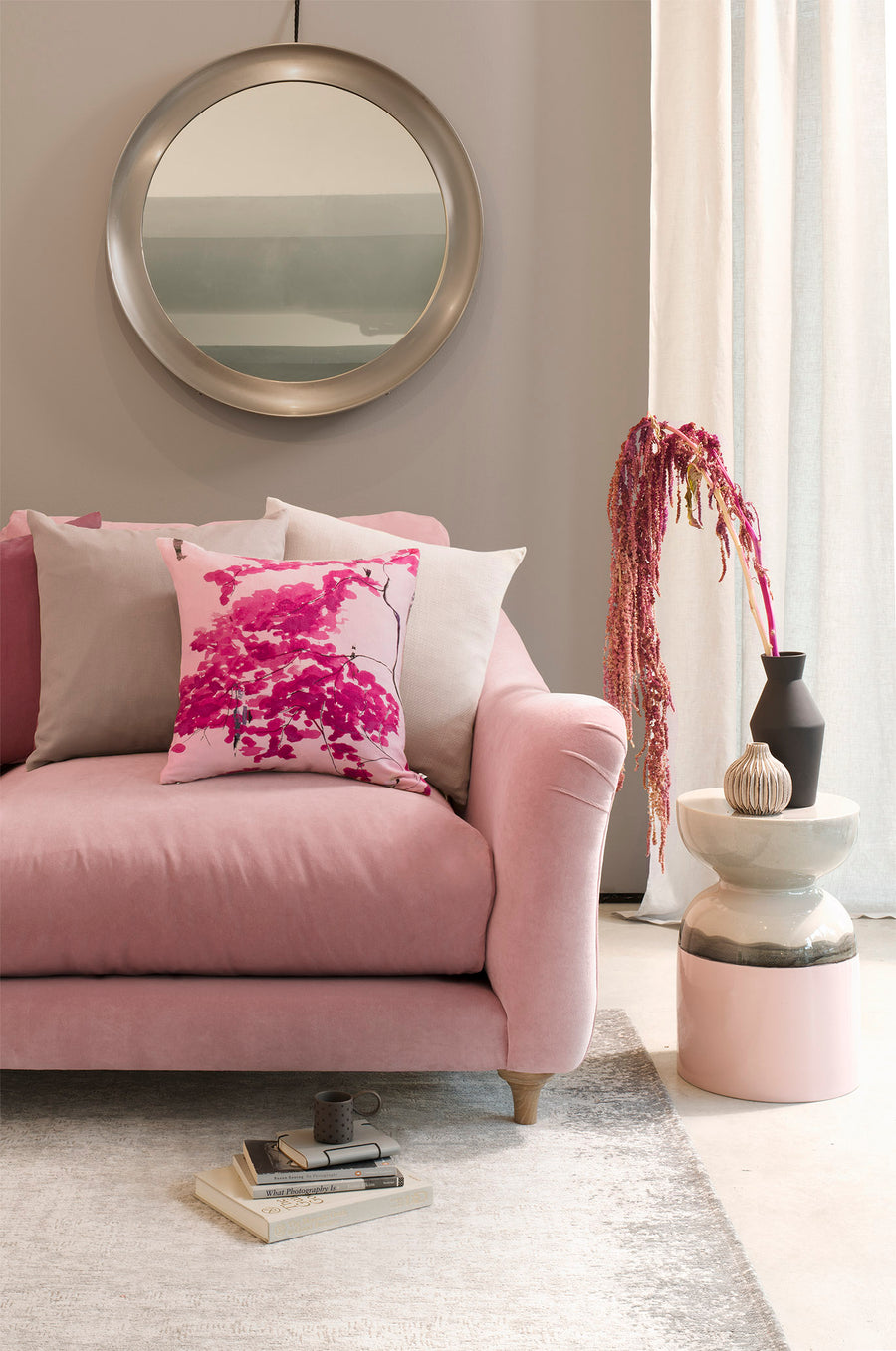 Violet bolster cushion - Chinese Tree in Pink and Violet bolster by Anna Jacobs