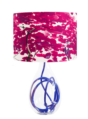 Chinese Tree in Pink and Violet lamp on Royal Blue flex by Anna Jacobs