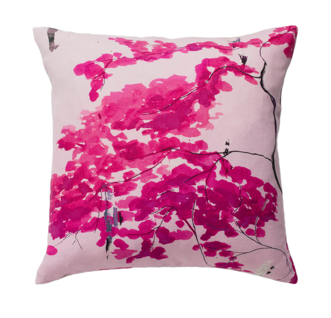 luxury cushion - Chinese Tree in Pink and Violet cushion designed by Anna Jacobs