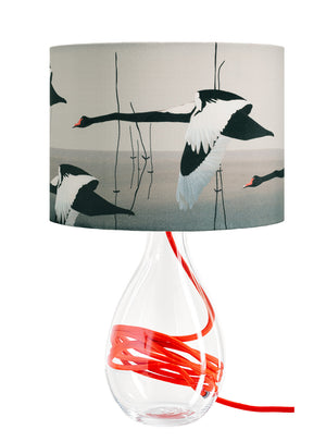 Black Swan lamp - Meditation in Flying on vivid red flex by Anna Jacobs