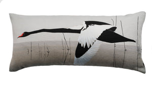 Black Swan bolster cushion - Meditation in Flying by Anna Jacobs
