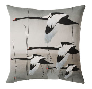 Black Swan cushion - Meditation in Flying by Anna Jacobs