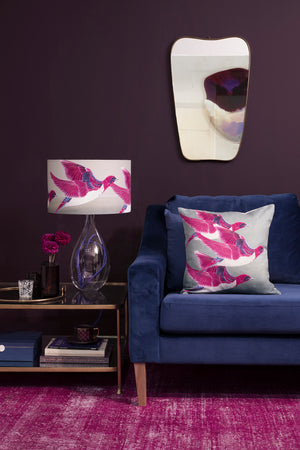 Starling cushion - Violet Backed Starling linen cushion by Anna Jacobs - lifestyle