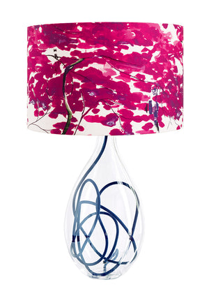 Chinese Tree in Pink and Violet lamp on Indigo flex by Anna Jacobs
