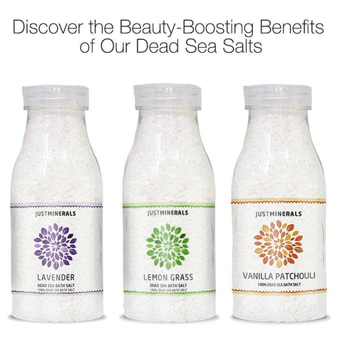Image of 3x Dead Sea Bath Salts by Just Minerals - Lavender / Lemon Grass / Vanilla Patchouli