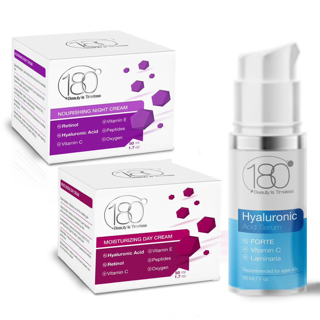 180 Essential TRIO Kit -  Hyaluronic Serum Forte - Day Cream -  Night Cream (3 Full-Size Products)