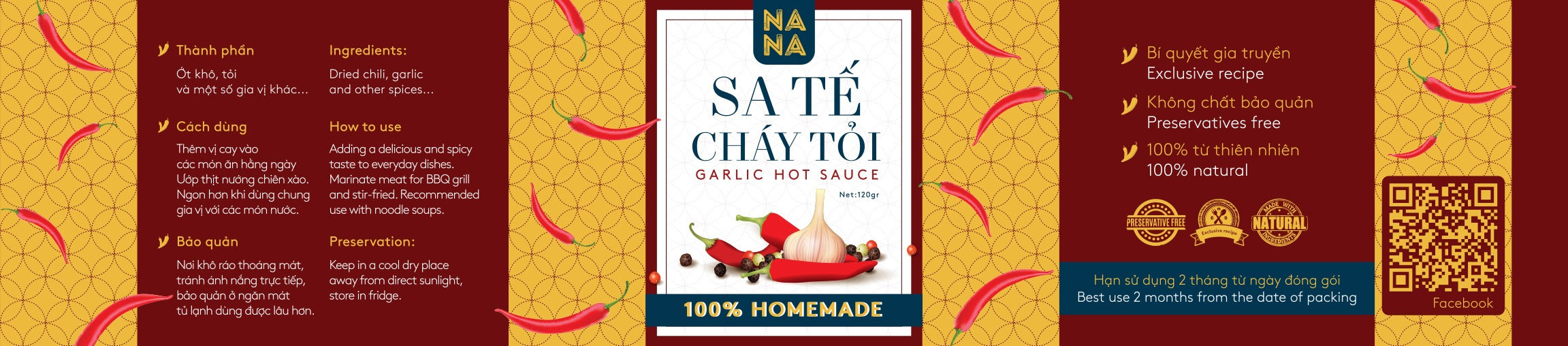 NANA GARLIC HOT SAUCE 100% HOMEMADE (120g) - COMBO 2 PACK