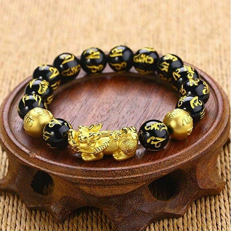 Black Obsidian Feng Shui Pi Xiu Bracelet Beads Attract Good Luck Wealth