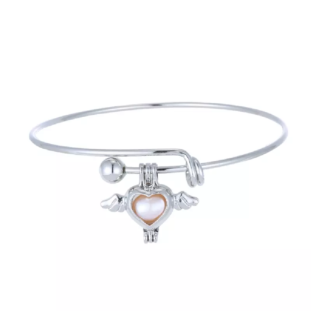 Cage Pendant Bangle Bracelets With With Oyster Pearl- 1x w/Random Color and Design