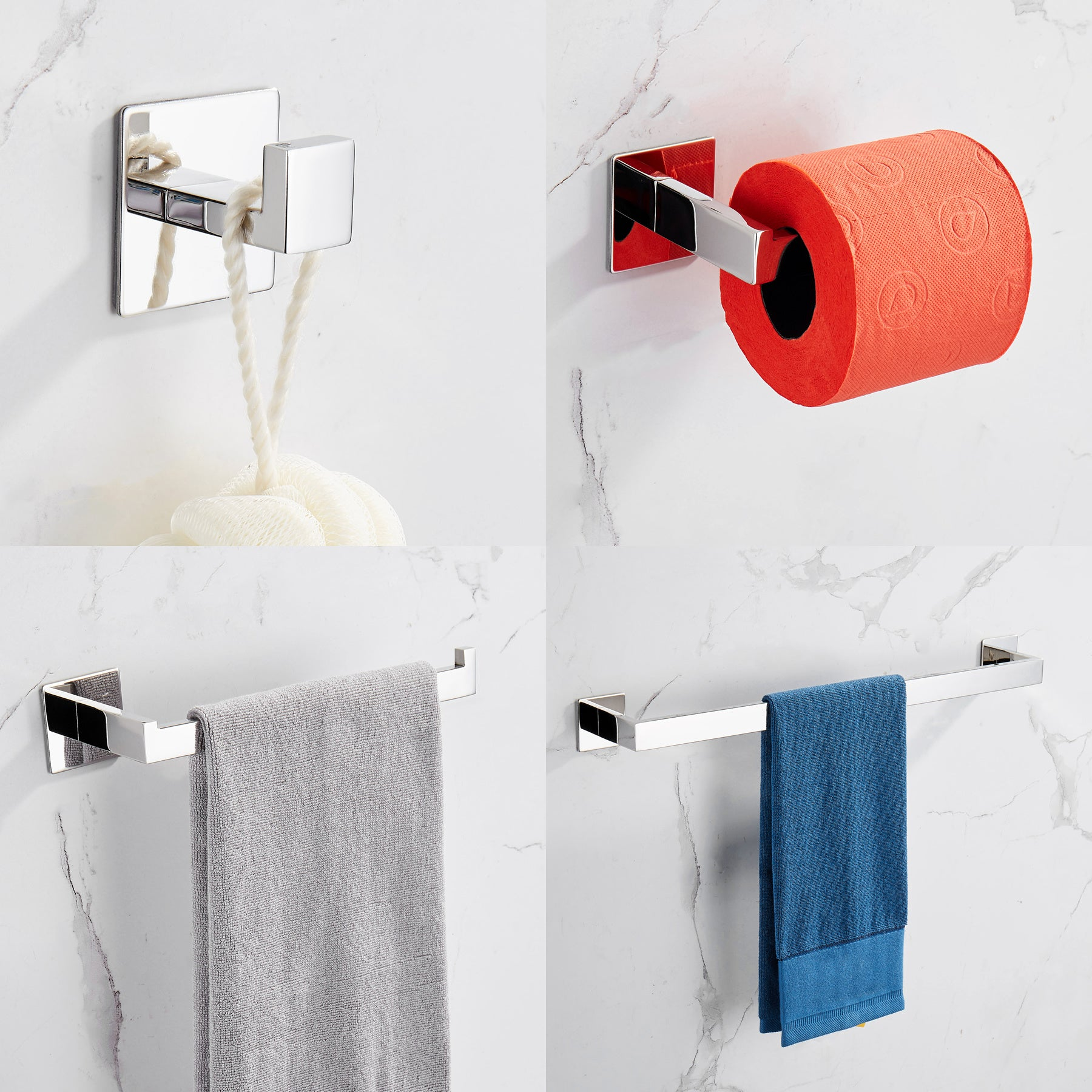 Strong Viscosity Adhesive 4 Pieces Bathroom Accessories Set Without Drilling Silver Brushed Towel Bar Set Holder Rack Robe Hook Tissue Toilet Paper Holder Rustproof 304 Stainless Steel  YJ