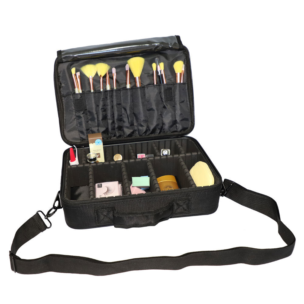 Professional High-capacity Multilayer Portable Travel Makeup Bag with Shoulder Strap (Small)  YF