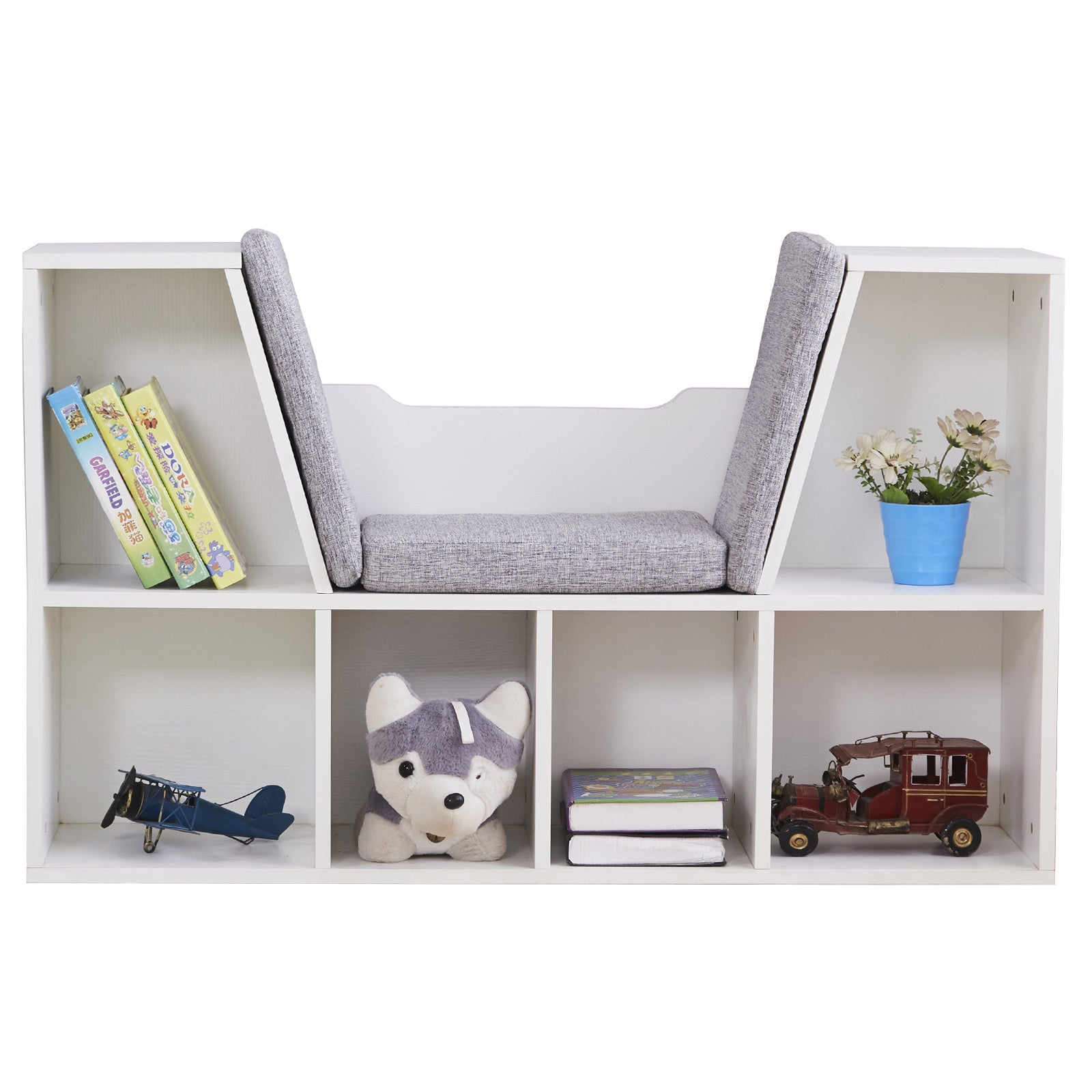 6-Cubby Kids Bookcase, Multi-Purpose Storage Organizer Cabinet Shelf for Children Dark Natural Color RT