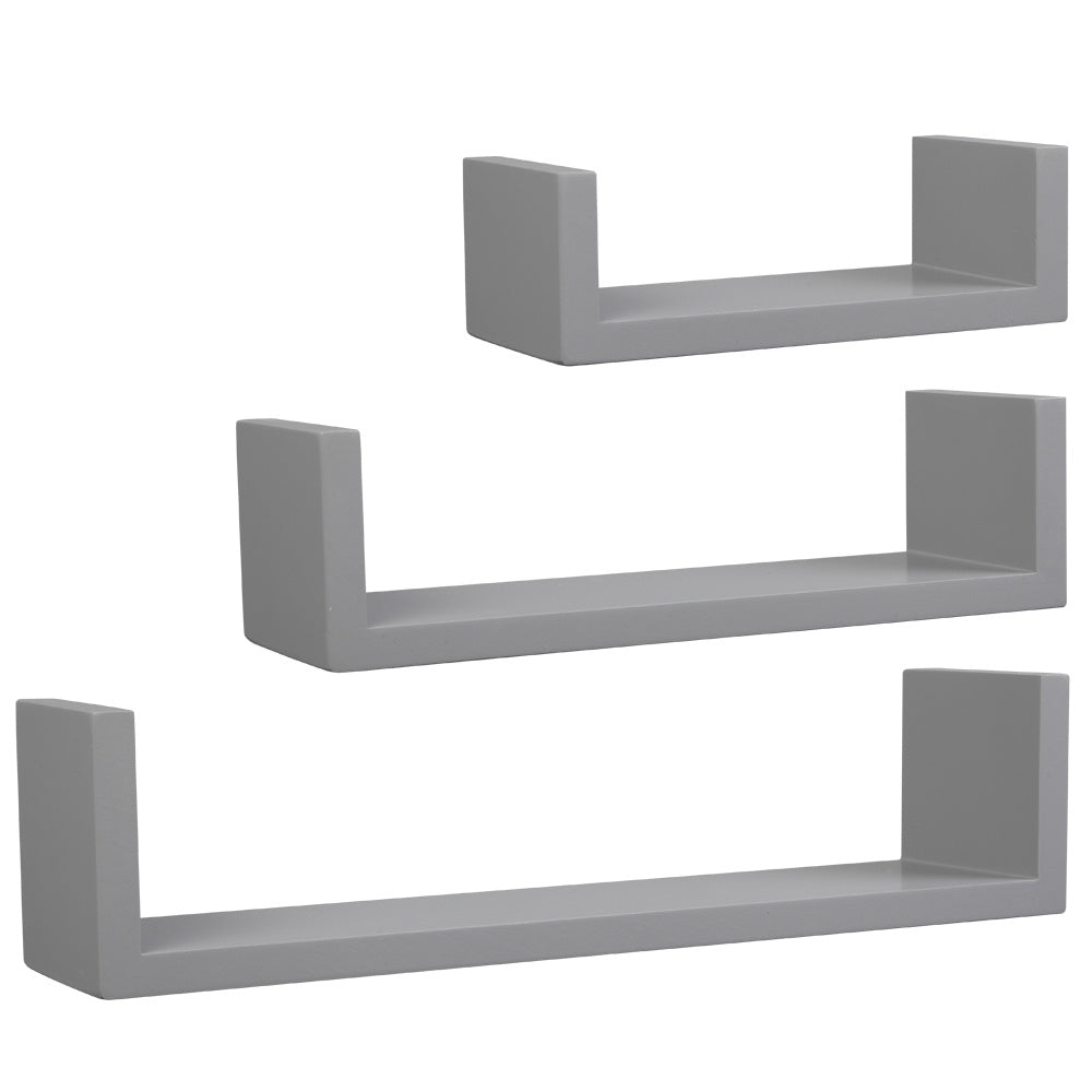 Set of 3, Floating Display Shelves Ledge Bookshelf Wall Mount Storage Gray Floating Shelves Wall Mounted - Decorative Storage Shelf, Multi-use Home Studio Furniture RT