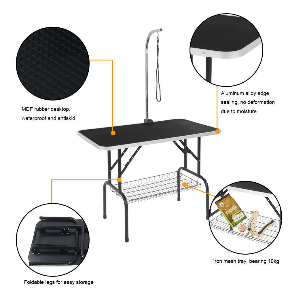 "32"" Foldable Pet Grooming Table with Mesh Tray and Adjustable Arm Silver Base with Black Table YF"
