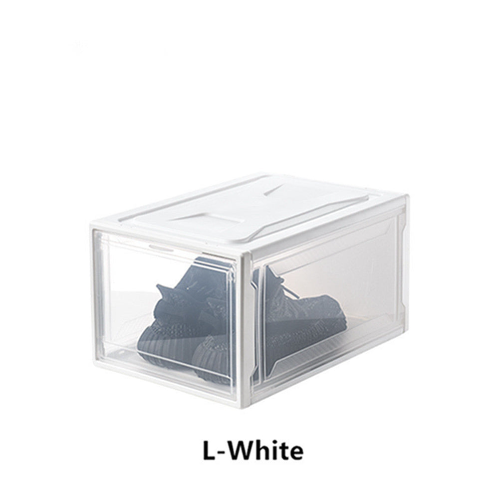 Free shipping 10PCS Storage Shoes Box Womens Mens Shoe Storage Display Box Plastic Foldable Stackable Shoe Container Clear Closet Shelf Shoe Organizer  YJ