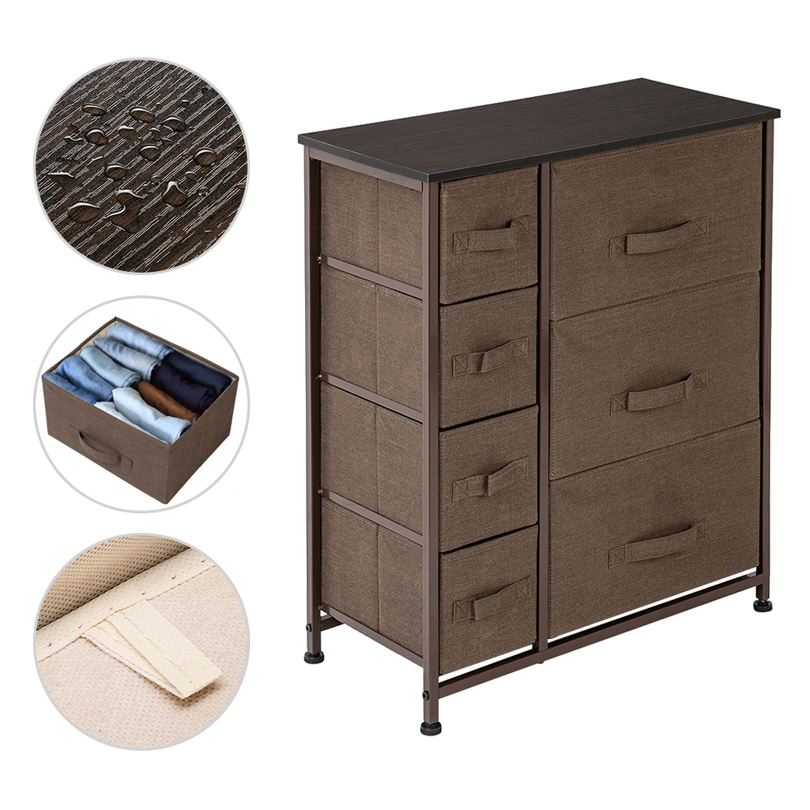 Dresser With 7 Drawers - Furniture Storage Tower Unit For Bedroom, Hallway, Closet, Office Organization - Steel Frame, Wood Top, Easy Pull Fabric Bins RT