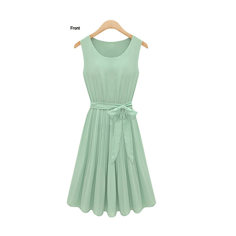 US store free delivery casual Lady Pleated Chiffon Bow Belt Sleeveless Vest Summer Dress Skirt