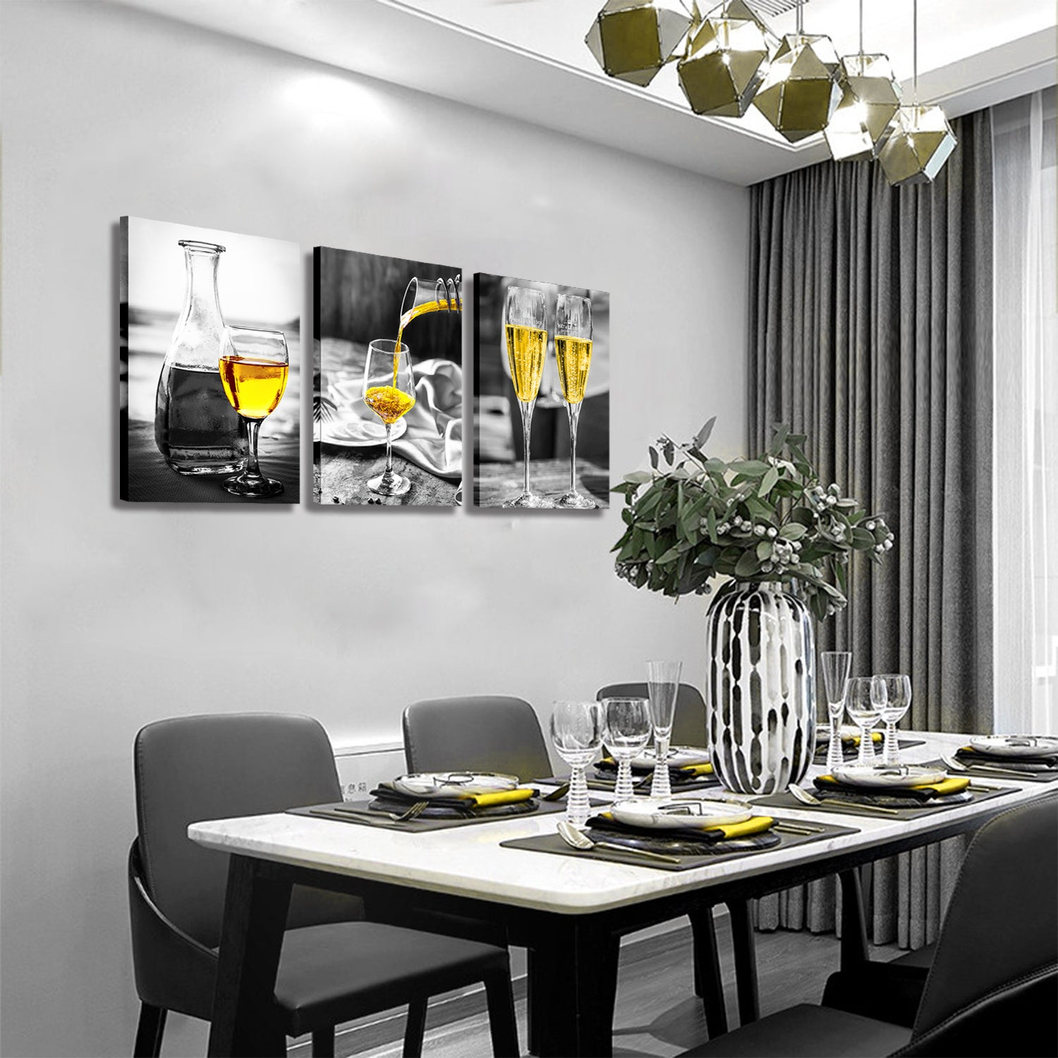 Kitchen Wall Art Gold Wine Glasses Canvas Prints Black and White Wall Art Wine Cups Modern Artwork for Dining Room Pubs Bar Home Decor