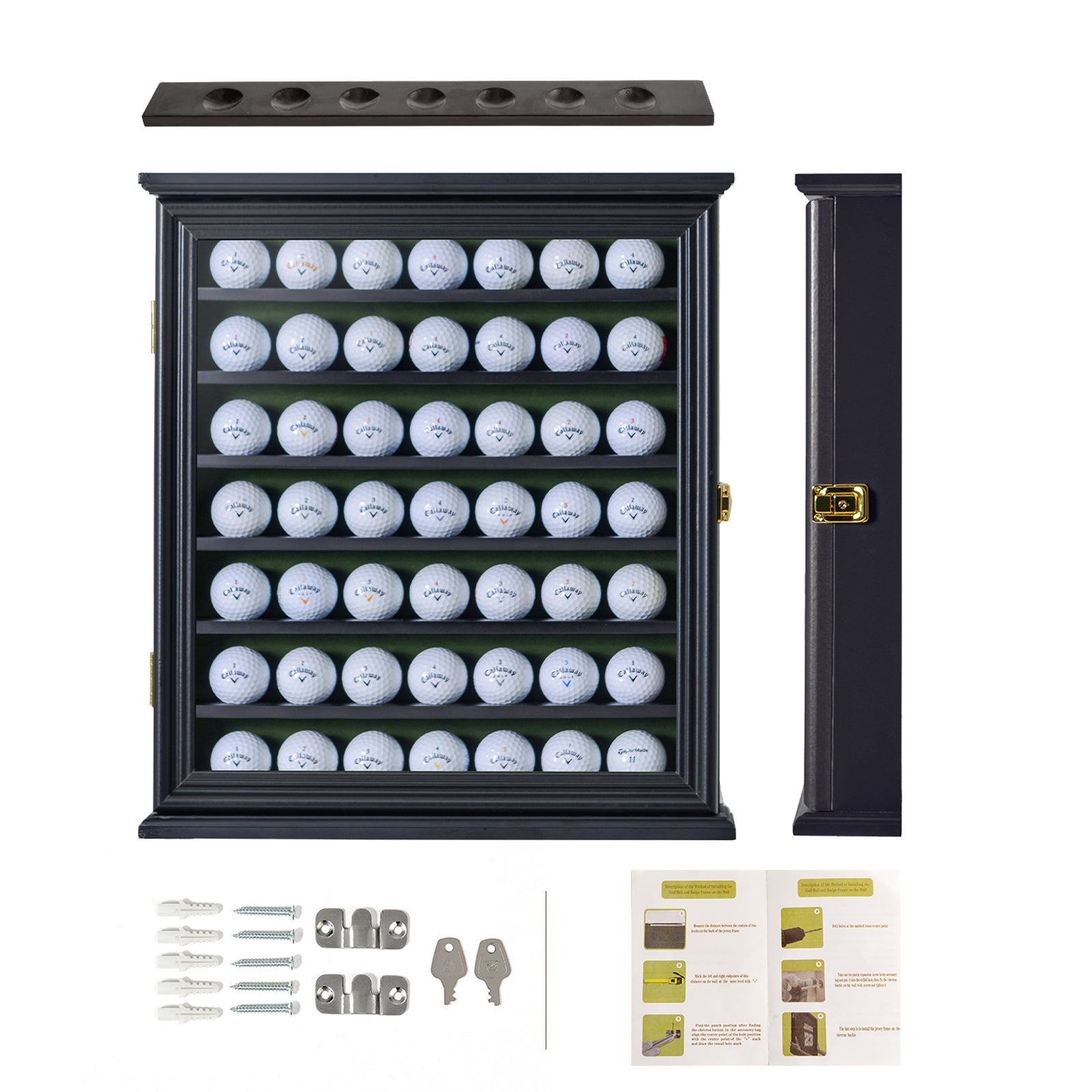 49 Golf Ball Display Case Cabinet Wall Rack Holder w/98% UV Protection Lockable XH