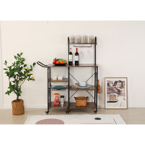 kitchen practical storage rack dining cart trolley, microwave oven rack 3 layers + 4 layers shelf, with 4 high-end hooks and 6 high-quality pulleys, spice rack organizer workstation (Rustic Brown)